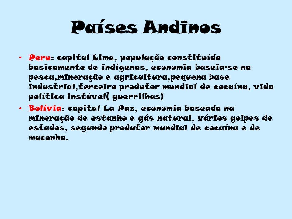 Países Andinos Peru: capital Lima, população constituída basicamente de indígenas, economia baseia-se na pesca,mineração e agricultura,pequena base in