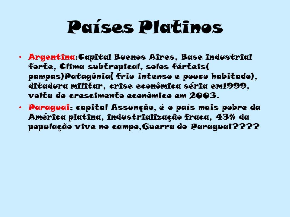 Países Platinos Argentina:Capital Buenos Aires, Base industrial forte, Clima subtropical, solos férteis( pampas)Patagônia( frio intenso e pouco habitado), ditadura militar, crise econômica séria em1999, volta do crescimento econômico em 2003.