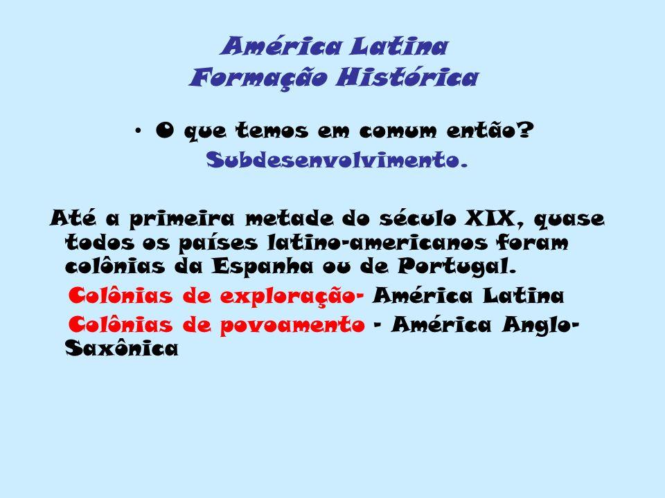 América Latina Formação Histórica O que temos em comum então? Subdesenvolvimento. Até a primeira metade do século XIX, quase todos os países latino-am