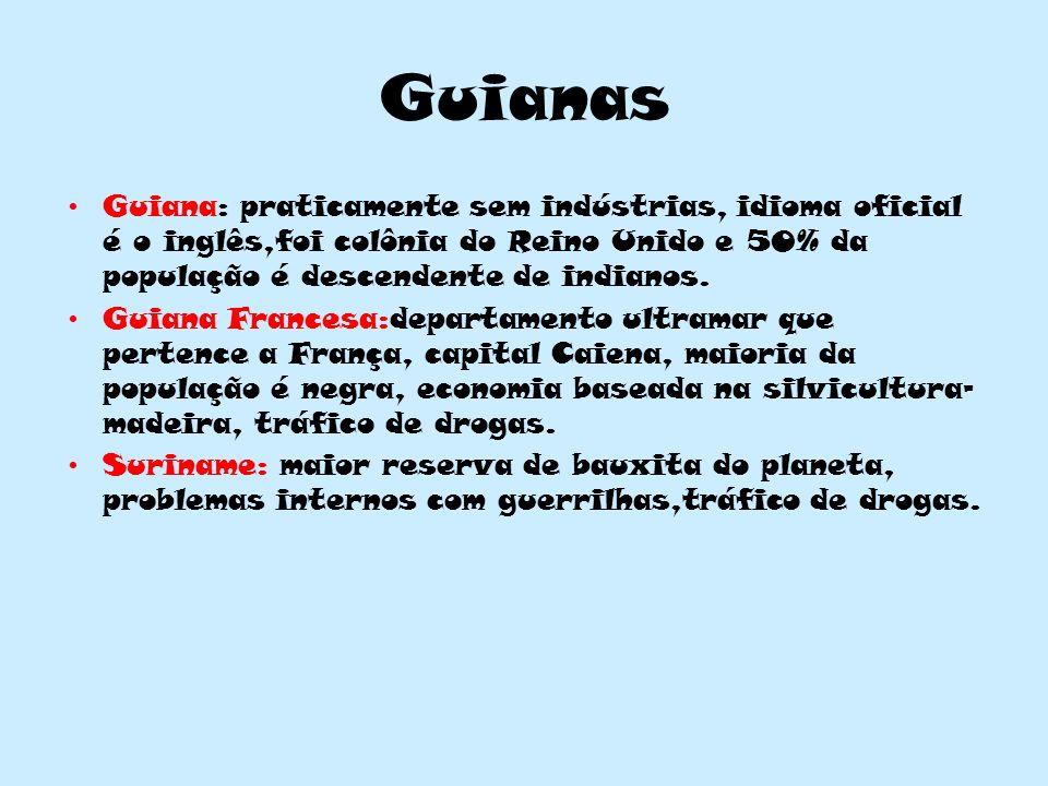 Guianas Guiana: praticamente sem indústrias, idioma oficial é o inglês,foi colônia do Reino Unido e 50% da população é descendente de indianos. Guiana