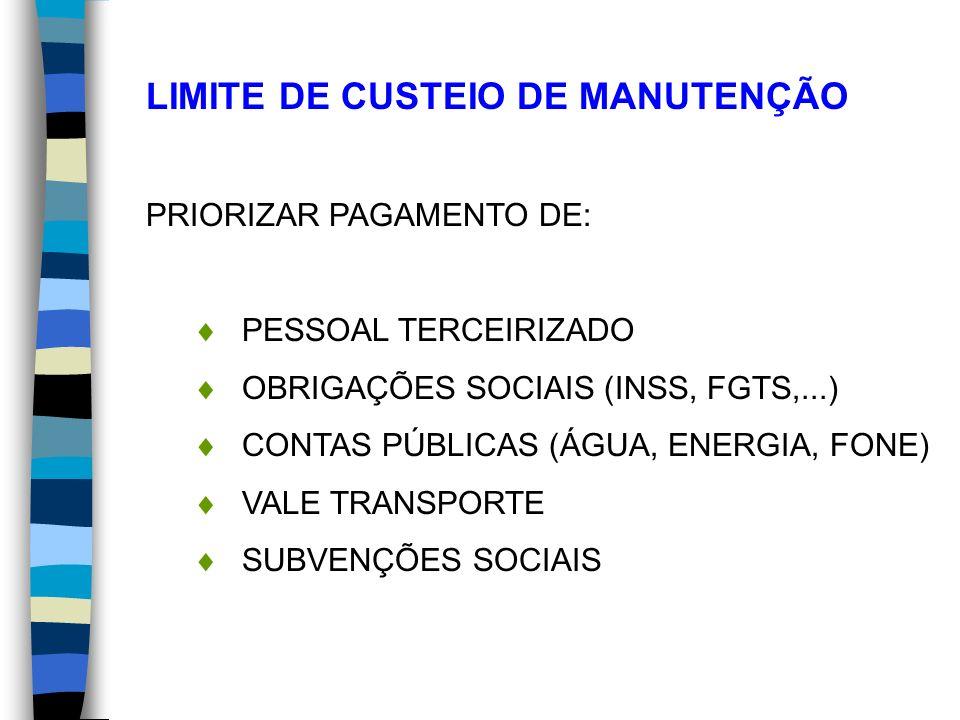 LIMITE DE CUSTEIO DE MANUTENÇÃO PRIORIZAR PAGAMENTO DE: PESSOAL TERCEIRIZADO OBRIGAÇÕES SOCIAIS (INSS, FGTS,...) CONTAS PÚBLICAS (ÁGUA, ENERGIA, FONE)