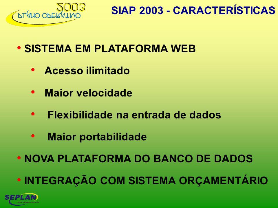SISTEMA EM PLATAFORMA WEB Acesso ilimitado Maior velocidade Flexibilidade na entrada de dados Maior portabilidade NOVA PLATAFORMA DO BANCO DE DADOS IN