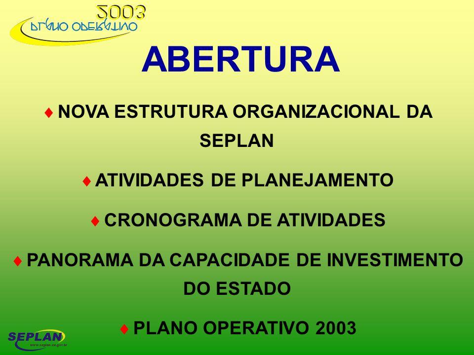 ABERTURA NOVA ESTRUTURA ORGANIZACIONAL DA SEPLAN ATIVIDADES DE PLANEJAMENTO CRONOGRAMA DE ATIVIDADES PANORAMA DA CAPACIDADE DE INVESTIMENTO DO ESTADO