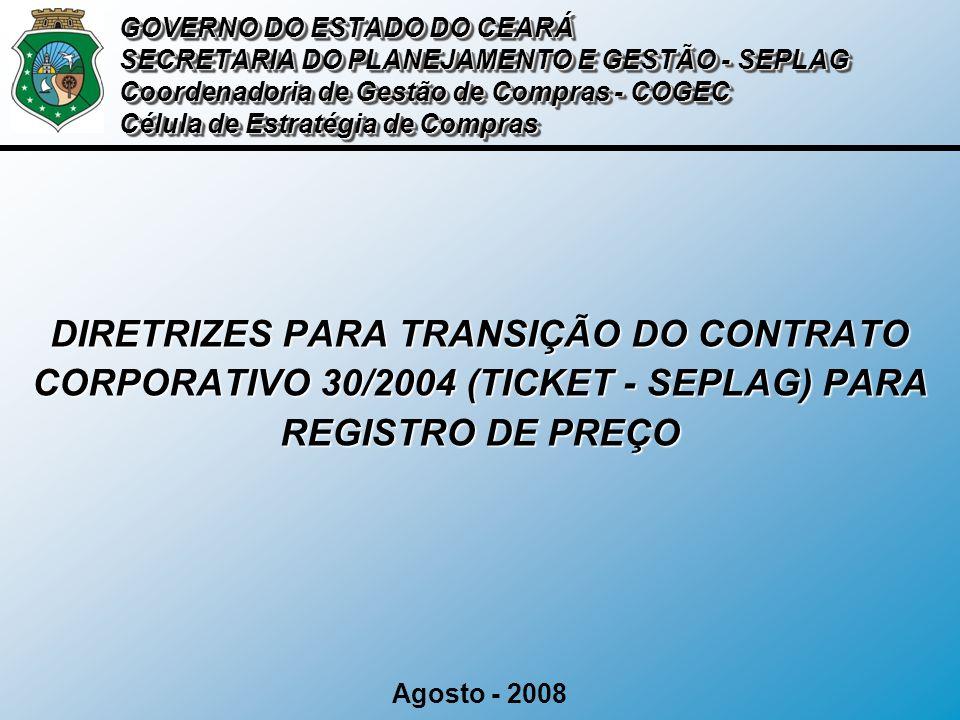 SITUAÇÃO ATUAL GOVERNO DO ESTADO DO CEARÁ SECRETARIA DO PLANEJAMENTO E GESTÃO - SEPLAG Coordenadoria de Gestão de Compras - COGEC Célula de Estratégia de Compras Término do Contrato 22 / 08/ 2008 Situação Futura: Adesão ata Registro de Preço Piauí Validade 31 / 12/ 2008 Situação Passada: Regularização dos Convênios