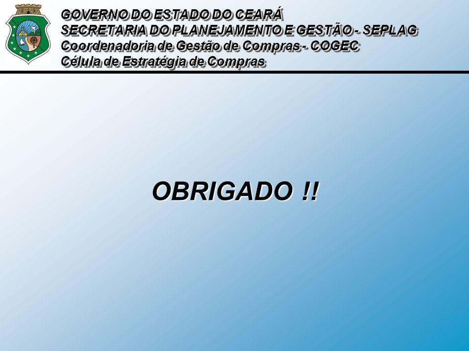 OBRIGADO !! GOVERNO DO ESTADO DO CEARÁ SECRETARIA DO PLANEJAMENTO E GESTÃO - SEPLAG Coordenadoria de Gestão de Compras - COGEC Célula de Estratégia de
