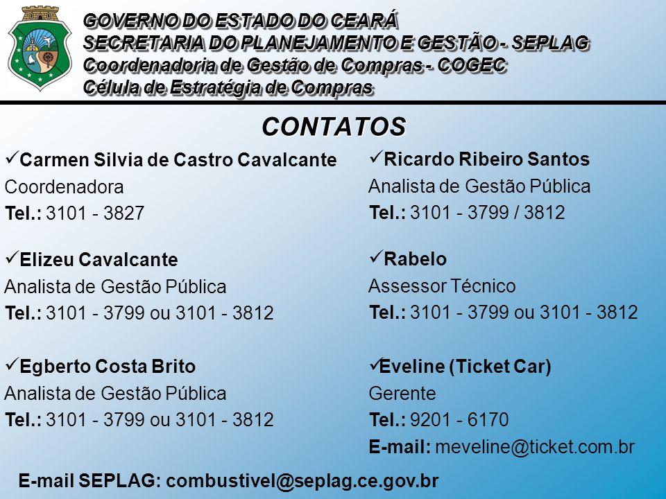CONTATOS Carmen Silvia de Castro Cavalcante Coordenadora Tel.: 3101 - 3827 Ricardo Ribeiro Santos Analista de Gestão Pública Tel.: 3101 - 3799 / 3812