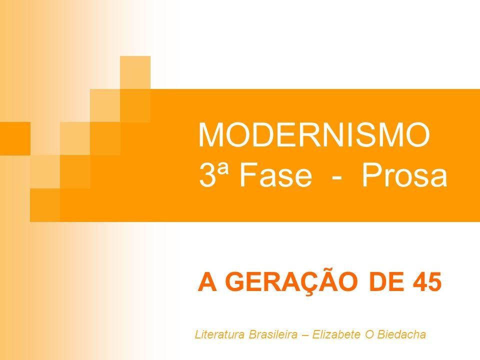 MODERNISMO 3ª Fase - Prosa A GERAÇÃO DE 45 Literatura Brasileira – Elizabete O Biedacha