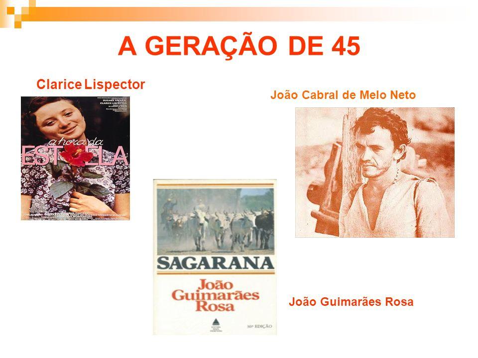 A GERAÇÃO DE 45 Clarice Lispector João Cabral de Melo Neto João Guimarães Rosa