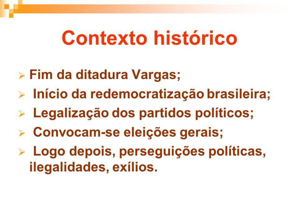 Contexto histórico Fim da ditadura Vargas; Início da redemocratização brasileira; Legalização dos partidos políticos; Convocam-se eleições gerais; Log