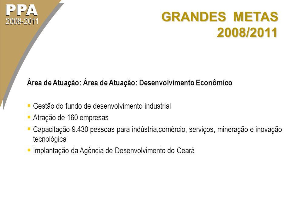 GRANDES METAS 2008/2011 Área de Atuação: Área de Atuação: Desenvolvimento Econômico Gestão do fundo de desenvolvimento industrial Atração de 160 empre