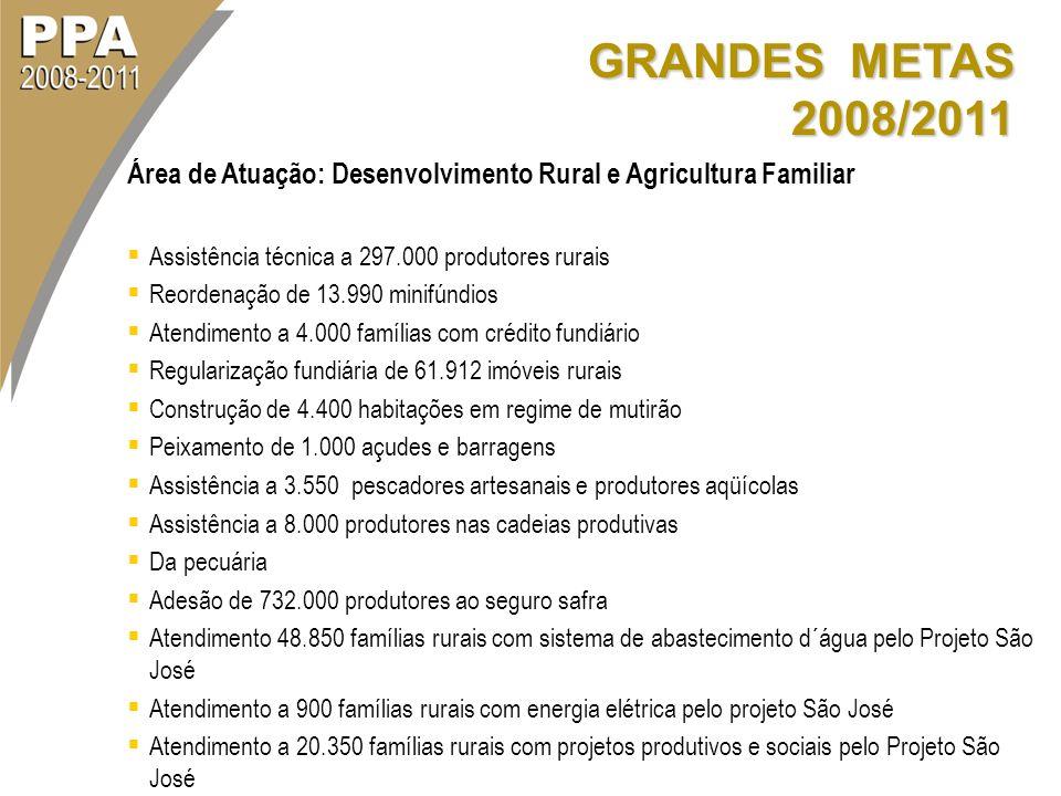 GRANDES METAS 2008/2011 Área de Atuação: Desenvolvimento Rural e Agricultura Familiar Assistência técnica a 297.000 produtores rurais Reordenação de 1