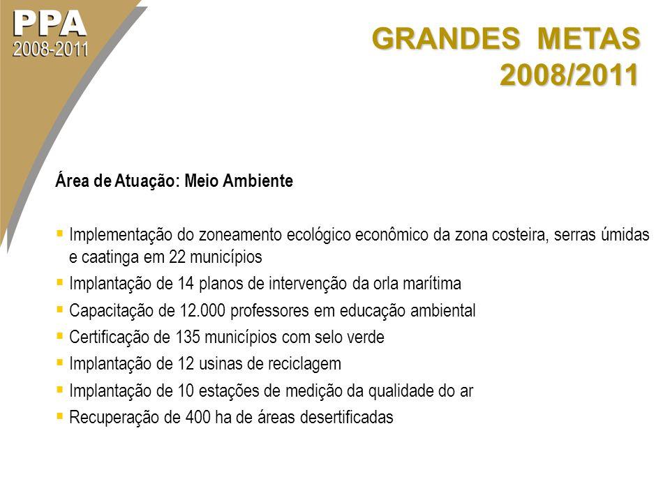 GRANDES METAS 2008/2011 Área de Atuação: Meio Ambiente Implementação do zoneamento ecológico econômico da zona costeira, serras úmidas e caatinga em 2