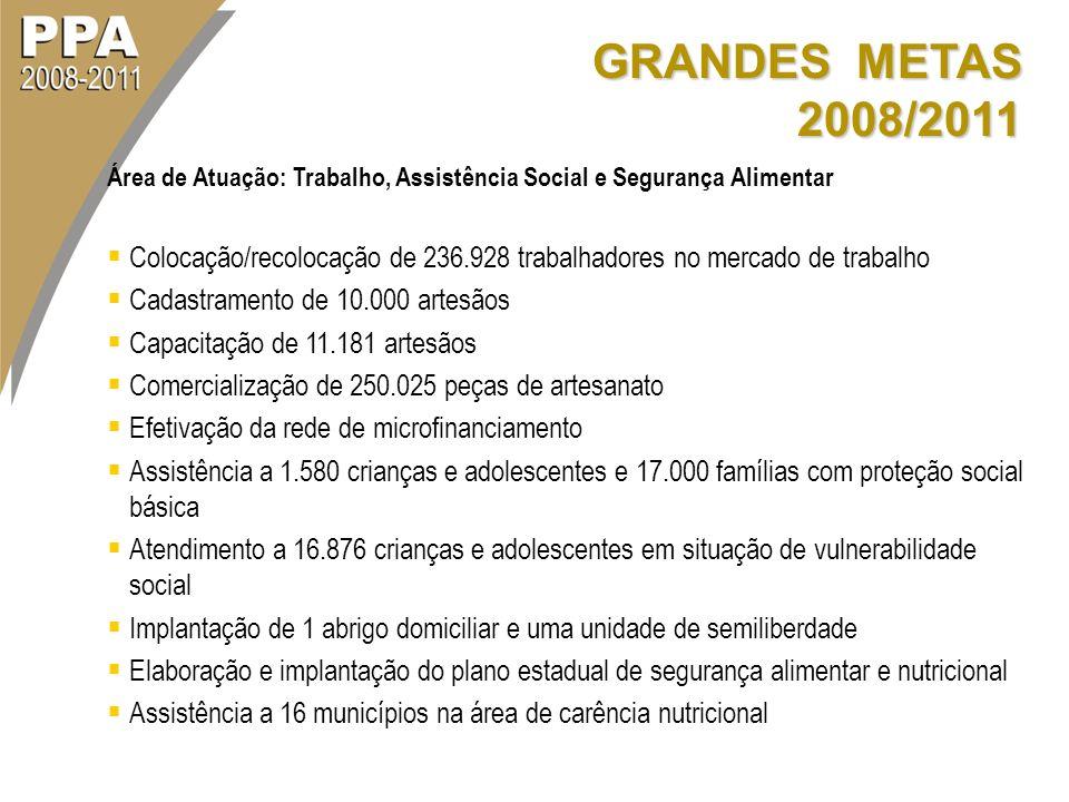 GRANDES METAS 2008/2011 Área de Atuação: Trabalho, Assistência Social e Segurança Alimentar Colocação/recolocação de 236.928 trabalhadores no mercado