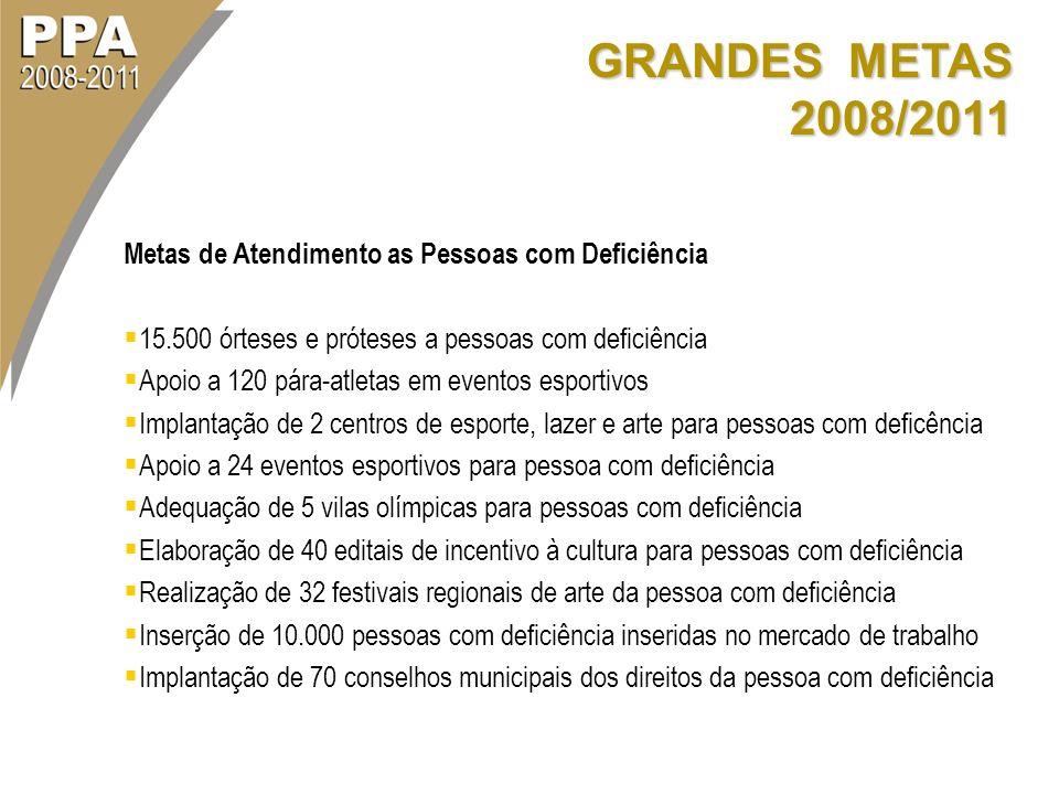 GRANDES METAS 2008/2011 Metas de Atendimento as Pessoas com Deficiência 15.500 órteses e próteses a pessoas com deficiência Apoio a 120 pára-atletas e