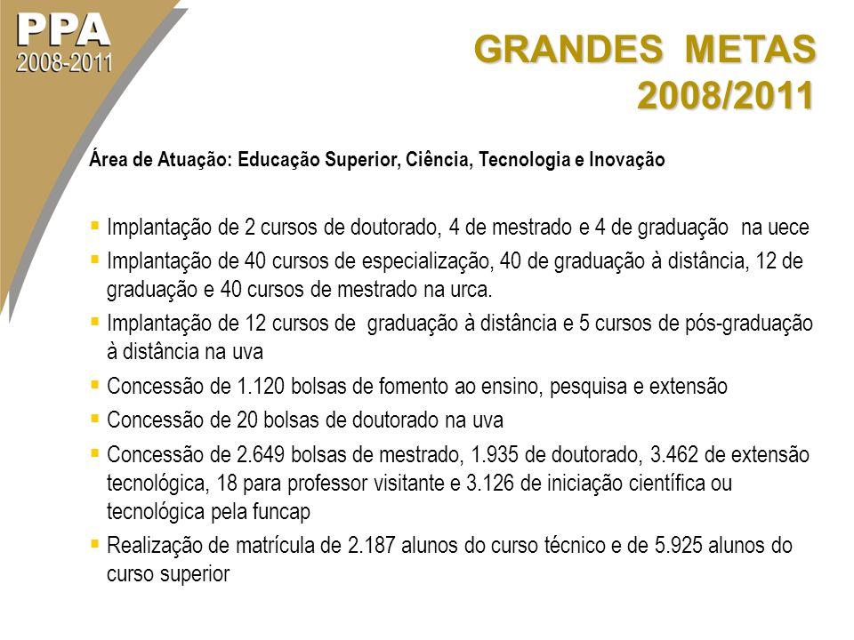 GRANDES METAS 2008/2011 Área de Atuação: Educação Superior, Ciência, Tecnologia e Inovação Implantação de 2 cursos de doutorado, 4 de mestrado e 4 de