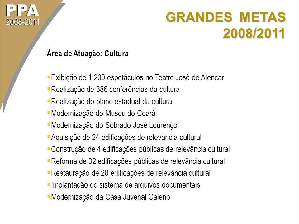 GRANDES METAS 2008/2011 Área de Atuação: Cultura Exibição de 1.200 espetáculos no Teatro José de Alencar Realização de 386 conferências da cultura Rea