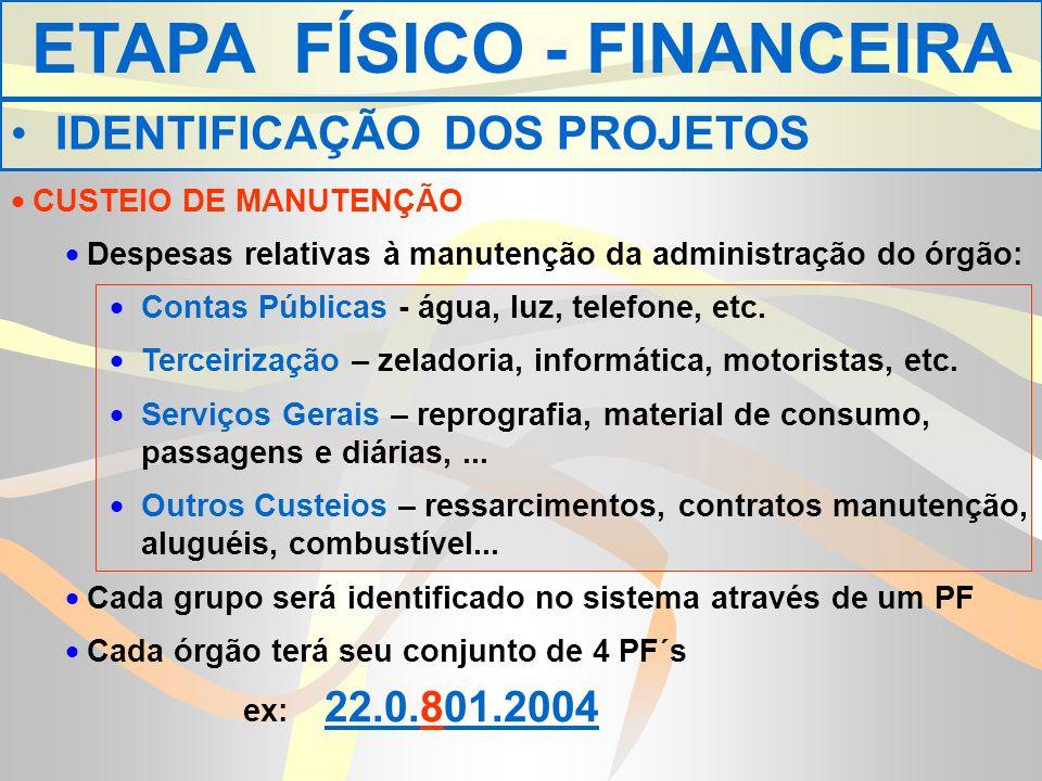 CUSTEIO DE MANUTENÇÃO Despesas relativas à manutenção da administração do órgão: Contas Públicas - água, luz, telefone, etc.
