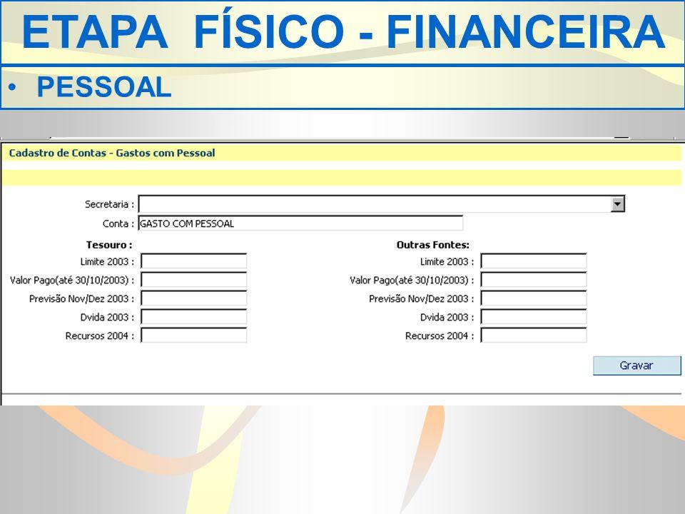 ETAPA FÍSICO - FINANCEIRA PESSOAL