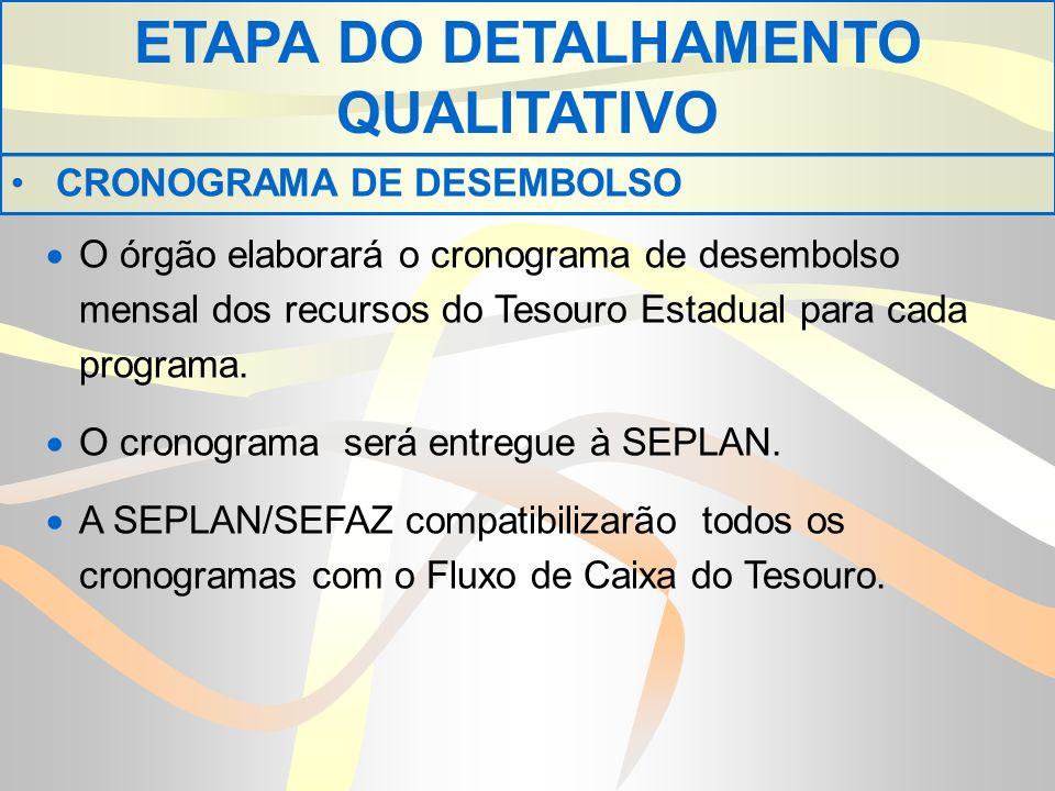 O órgão elaborará o cronograma de desembolso mensal dos recursos do Tesouro Estadual para cada programa.