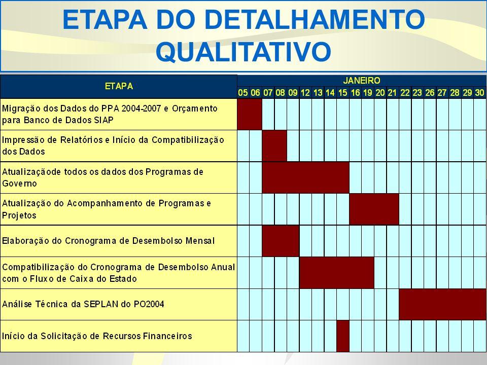 ETAPA DO DETALHAMENTO QUALITATIVO
