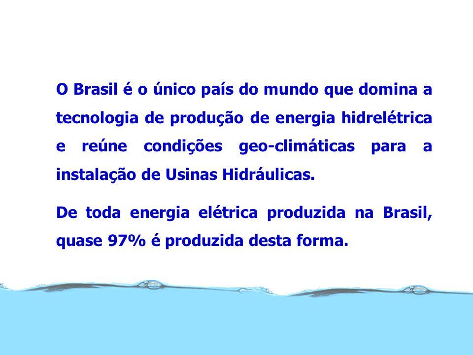 O Brasil é o único país do mundo que domina a tecnologia de produção de energia hidrelétrica e reúne condições geo-climáticas para a instalação de Usi