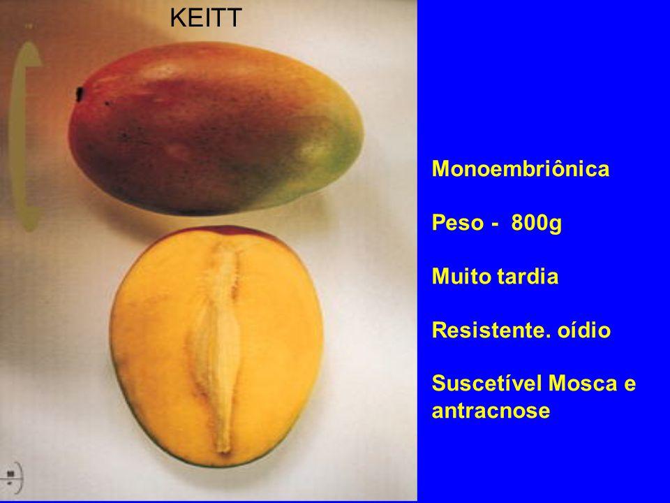 KEITT Monoembriônica Peso - 800g Muito tardia Resistente. oídio Suscetível Mosca e antracnose