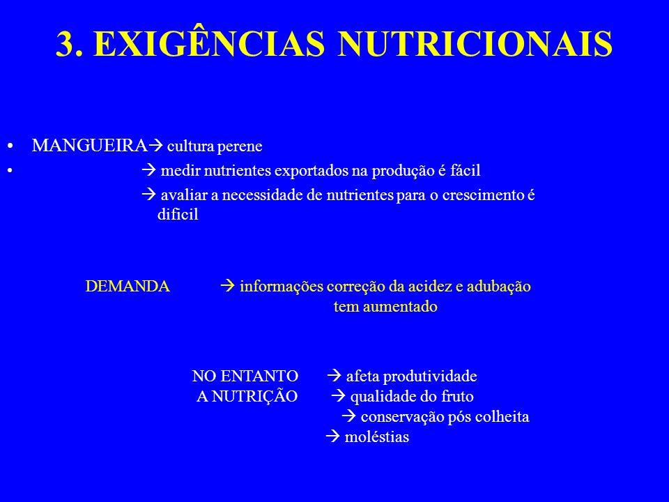 3. EXIGÊNCIAS NUTRICIONAIS MANGUEIRA cultura perene medir nutrientes exportados na produção é fácil avaliar a necessidade de nutrientes para o crescim