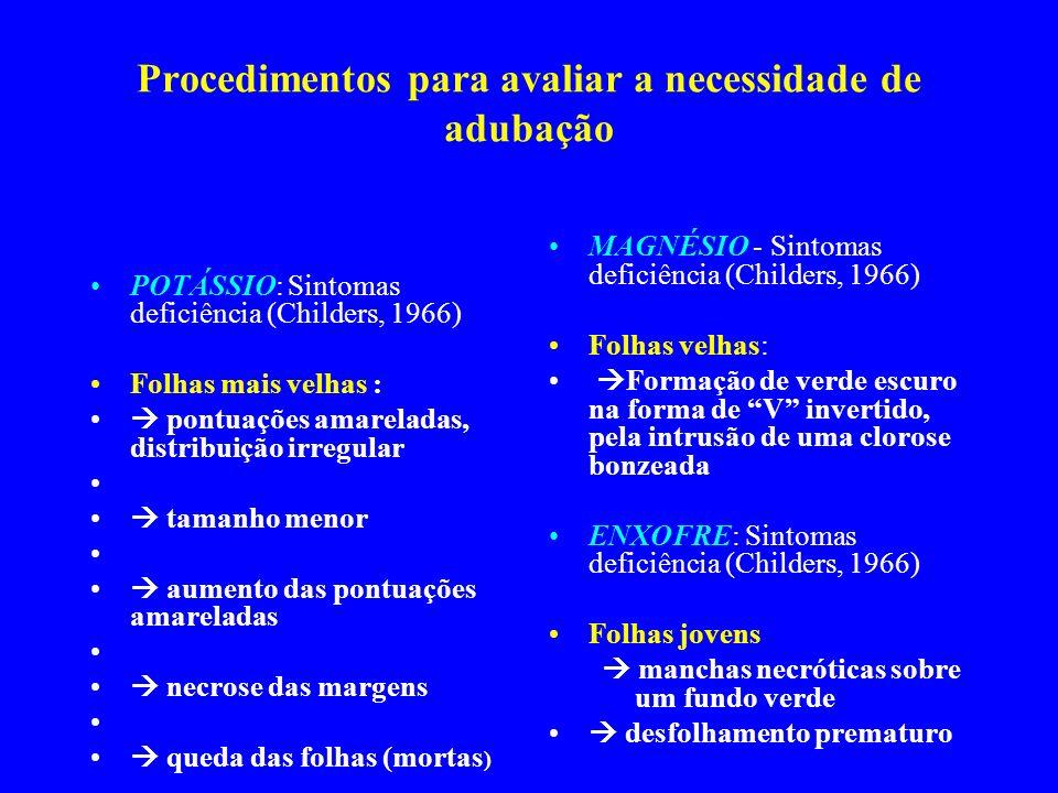 Procedimentos para avaliar a necessidade de adubação POTÁSSIO: Sintomas deficiência (Childers, 1966) Folhas mais velhas : pontuações amareladas, distr