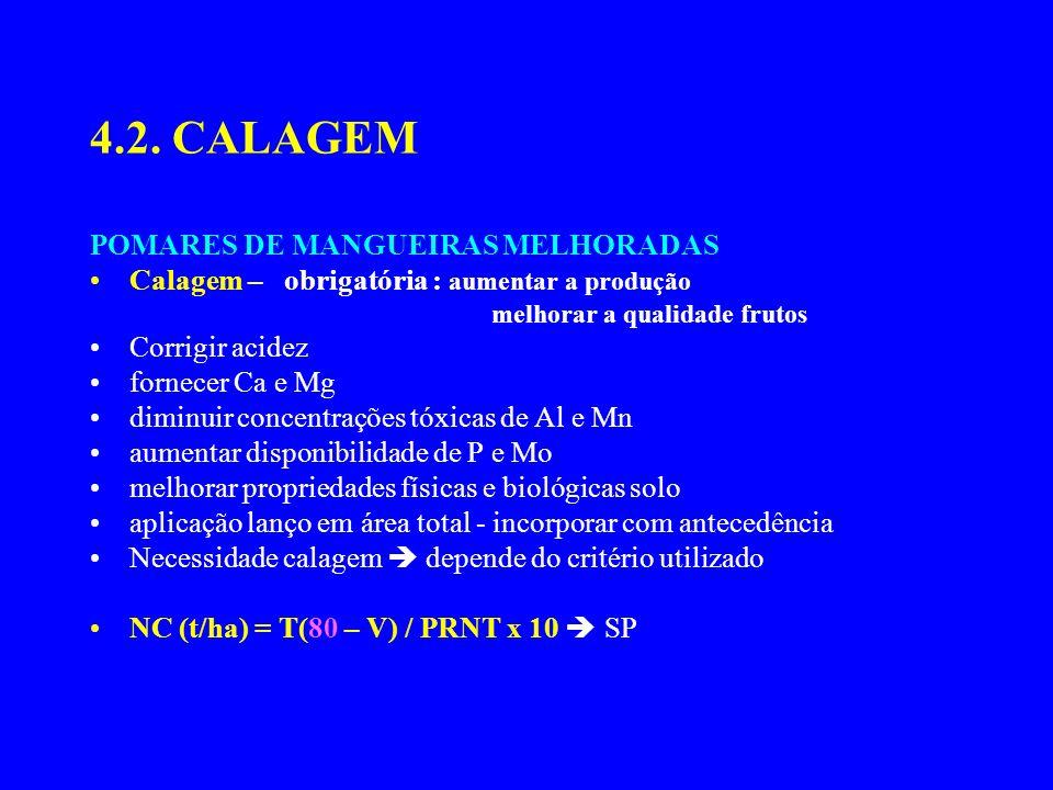 4.2. CALAGEM POMARES DE MANGUEIRAS MELHORADAS Calagem – obrigatória : aumentar a produção melhorar a qualidade frutos Corrigir acidez fornecer Ca e Mg