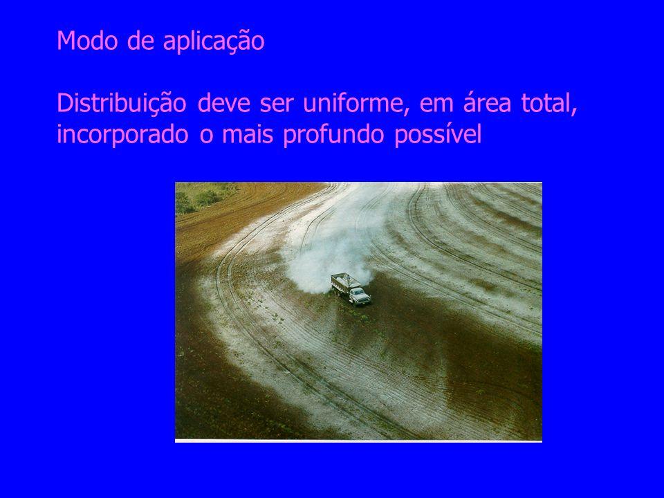 Modo de aplicação Distribuição deve ser uniforme, em área total, incorporado o mais profundo possível