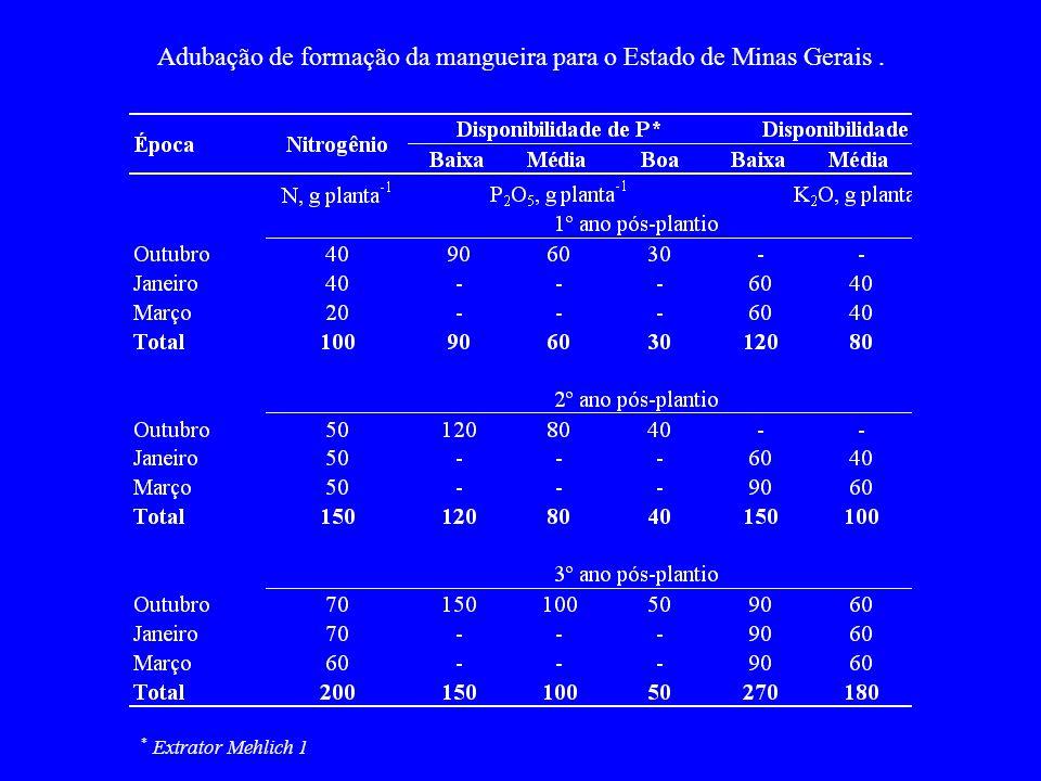 Adubação de formação da mangueira para o Estado de Minas Gerais. * Extrator Mehlich 1