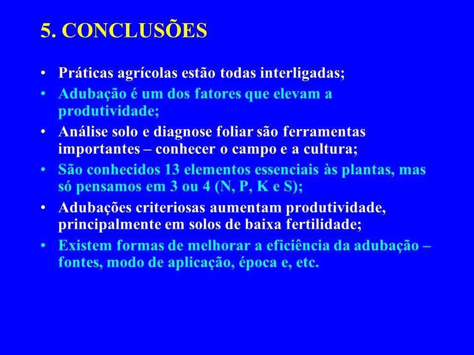 5. CONCLUSÕES Práticas agrícolas estão todas interligadas; Adubação é um dos fatores que elevam a produtividade; Análise solo e diagnose foliar são fe