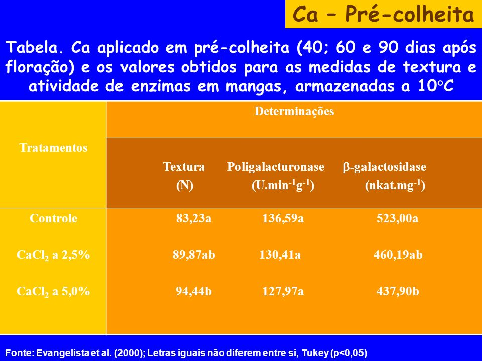 Tabela. Ca aplicado em pré-colheita (40; 60 e 90 dias após floração) e os valores obtidos para as medidas de textura e atividade de enzimas em mangas,