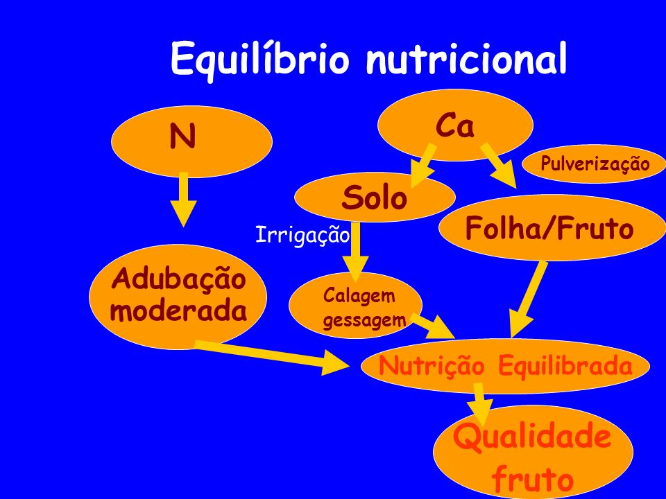 Equilíbrio nutricional N Ca Adubação moderada Solo Folha/Fruto Calagem gessagem Pulverização Qualidade fruto Nutrição Equilibrada Irrigação