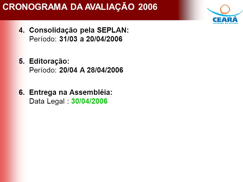 CRONOGRAMA DA AVALIAÇÃO 2006 4.Consolidação pela SEPLAN: Período: 31/03 a 20/04/2006 5.Editoração: Período: 20/04 A 28/04/2006 6.Entrega na Assembléia: Data Legal : 30/04/2006