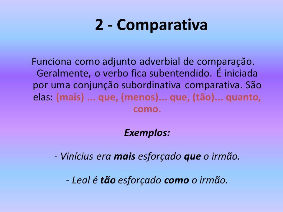 2 - Comparativa Funciona como adjunto adverbial de comparação. Geralmente, o verbo fica subentendido. É iniciada por uma conjunção subordinativa compa