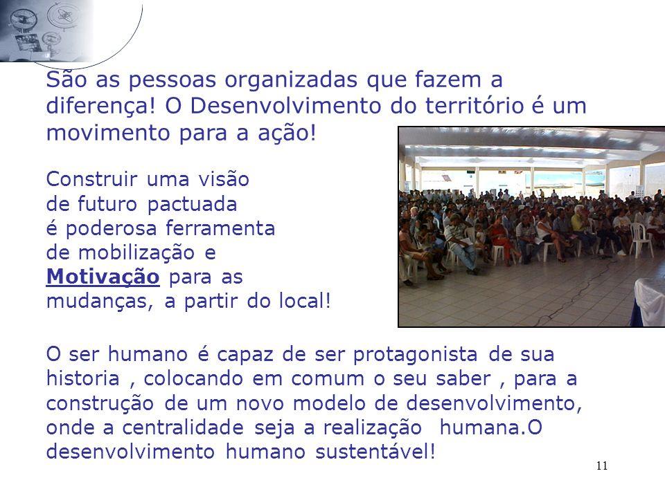 11 São as pessoas organizadas que fazem a diferença! O Desenvolvimento do território é um movimento para a ação! Construir uma visão de futuro pactuad
