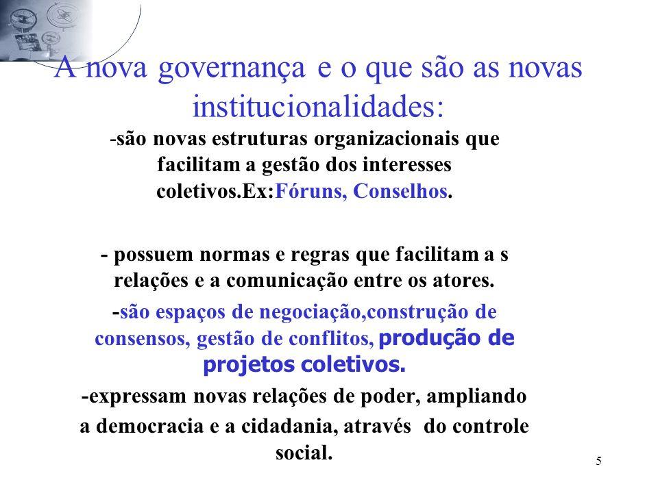 5 A nova governança e o que são as novas institucionalidades: -são novas estruturas organizacionais que facilitam a gestão dos interesses coletivos.Ex