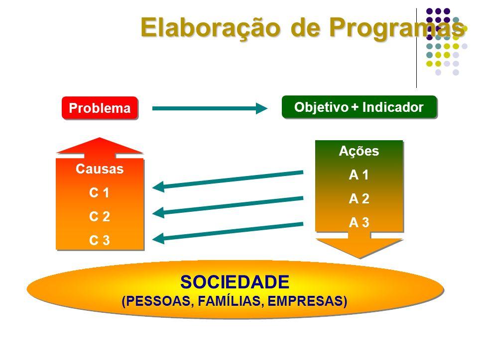 Problema Objetivo + Indicador Causas C 1 C 2 C 3 Causas C 1 C 2 C 3 SOCIEDADE (PESSOAS, FAMÍLIAS, EMPRESAS) SOCIEDADE (PESSOAS, FAMÍLIAS, EMPRESAS) Aç