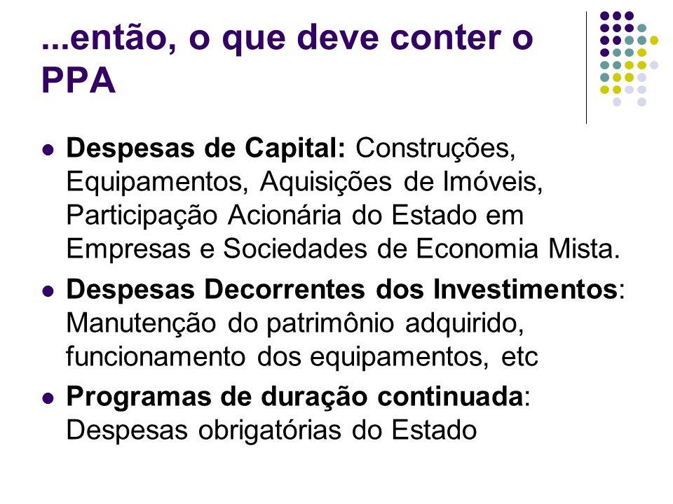 ...então, o que deve conter o PPA Despesas de Capital: Construções, Equipamentos, Aquisições de Imóveis, Participação Acionária do Estado em Empresas