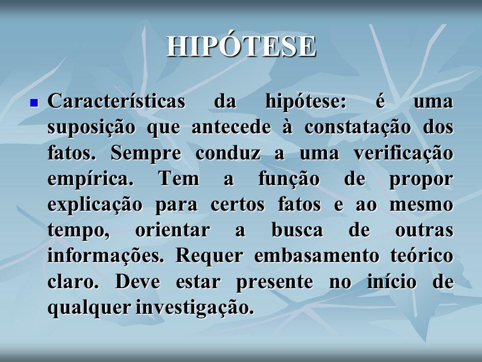 HIPÓTESE Características da hipótese: é uma suposição que antecede à constatação dos fatos. Sempre conduz a uma verificação empírica. Tem a função de