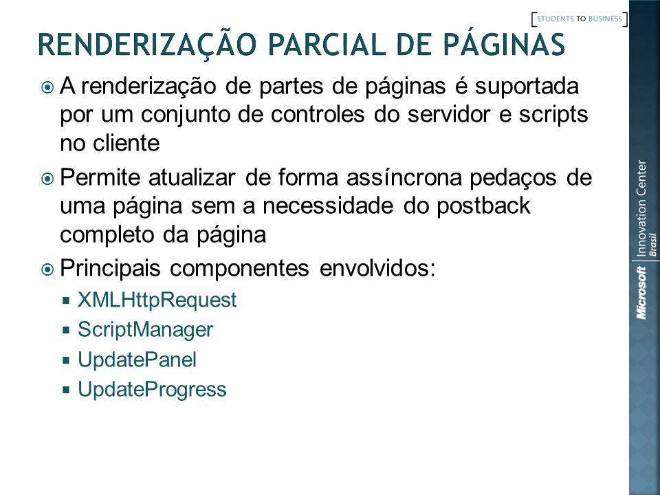 A renderização de partes de páginas é suportada por um conjunto de controles do servidor e scripts no cliente Permite atualizar de forma assíncrona pedaços de uma página sem a necessidade do postback completo da página Principais componentes envolvidos: XMLHttpRequest ScriptManager UpdatePanel UpdateProgress