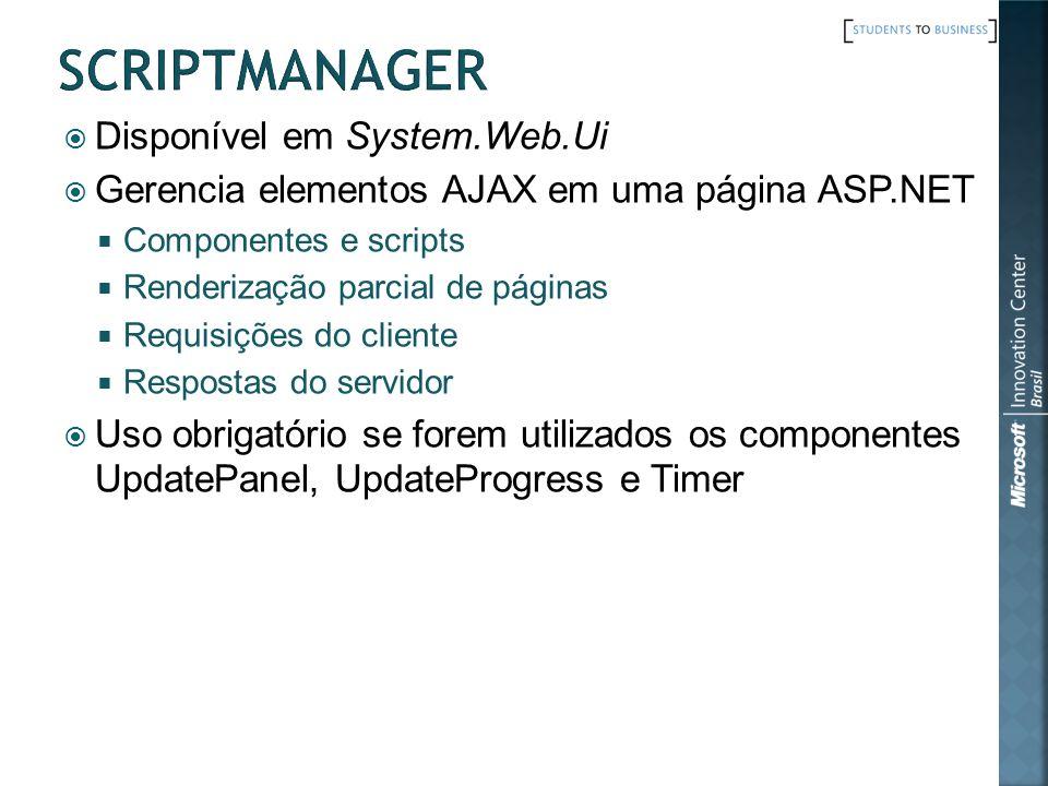 Disponível em System.Web.Ui Gerencia elementos AJAX em uma página ASP.NET Componentes e scripts Renderização parcial de páginas Requisições do cliente Respostas do servidor Uso obrigatório se forem utilizados os componentes UpdatePanel, UpdateProgress e Timer