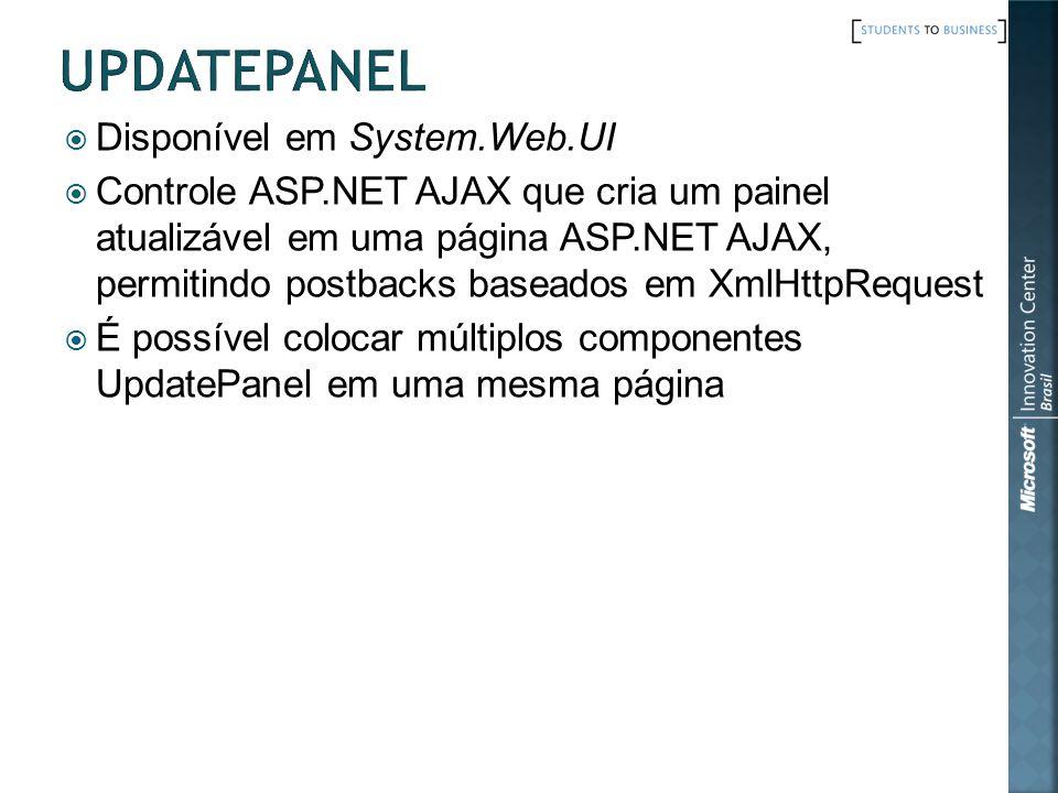 Disponível em System.Web.UI Controle ASP.NET AJAX que cria um painel atualizável em uma página ASP.NET AJAX, permitindo postbacks baseados em XmlHttpRequest É possível colocar múltiplos componentes UpdatePanel em uma mesma página