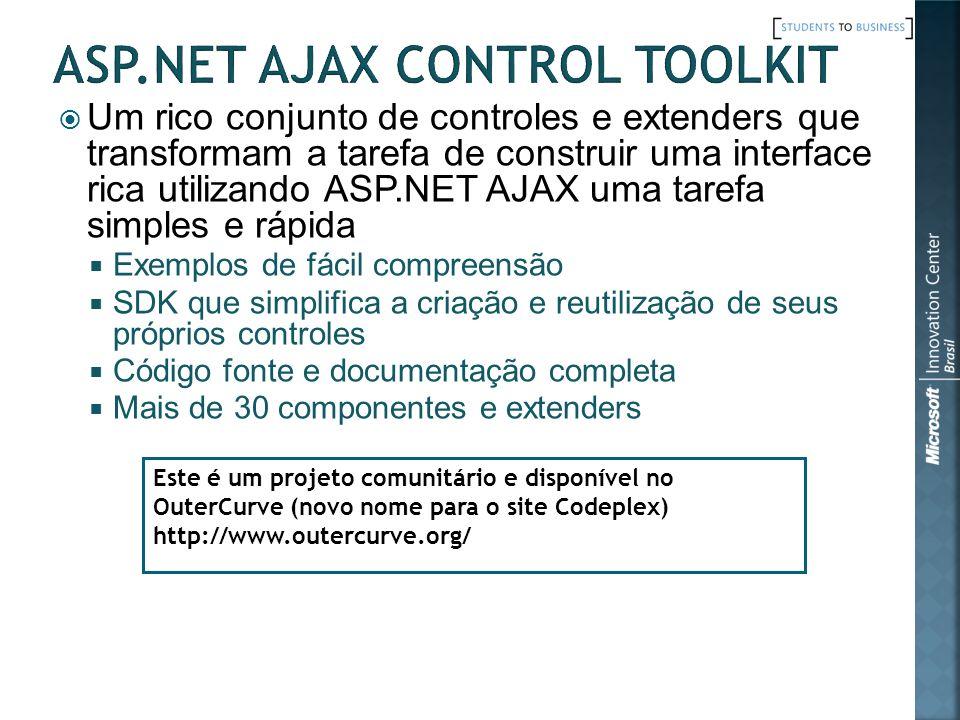 Um rico conjunto de controles e extenders que transformam a tarefa de construir uma interface rica utilizando ASP.NET AJAX uma tarefa simples e rápida Exemplos de fácil compreensão SDK que simplifica a criação e reutilização de seus próprios controles Código fonte e documentação completa Mais de 30 componentes e extenders Este é um projeto comunitário e disponível no OuterCurve (novo nome para o site Codeplex) http://www.outercurve.org/