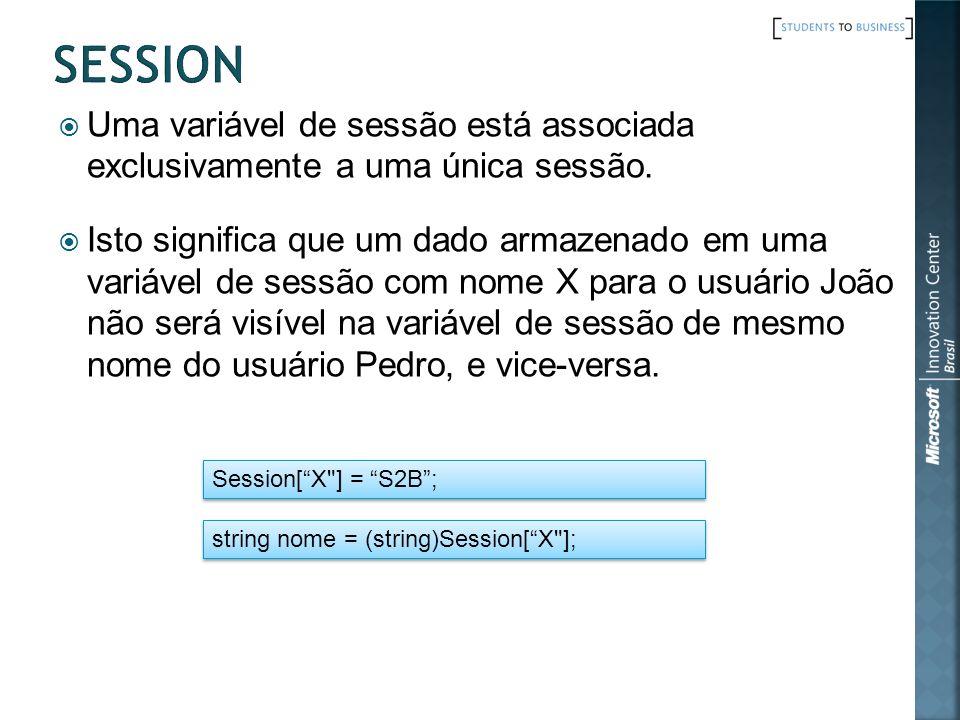 Uma variável de sessão está associada exclusivamente a uma única sessão.
