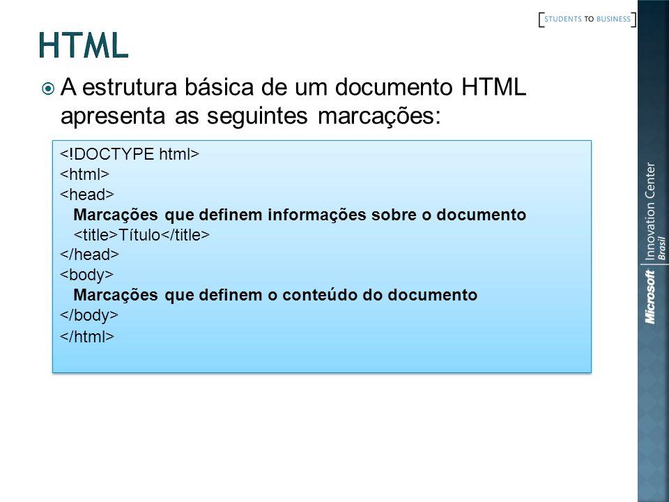A estrutura básica de um documento HTML apresenta as seguintes marcações: Marcações que definem informações sobre o documento Título Marcações que def