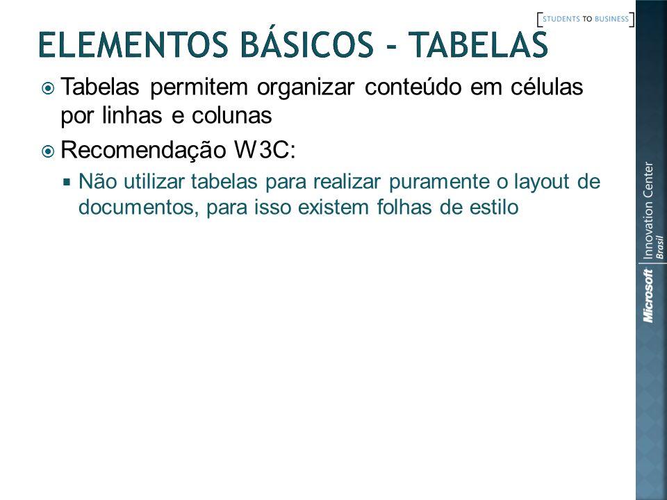 Tabelas permitem organizar conteúdo em células por linhas e colunas Recomendação W3C: Não utilizar tabelas para realizar puramente o layout de documen