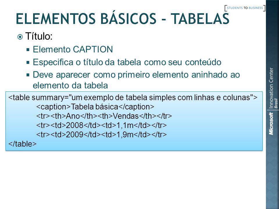 Título: Elemento CAPTION Especifica o título da tabela como seu conteúdo Deve aparecer como primeiro elemento aninhado ao elemento da tabela Tabela bá