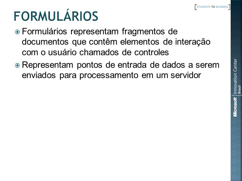 Formulários representam fragmentos de documentos que contêm elementos de interação com o usuário chamados de controles Representam pontos de entrada d